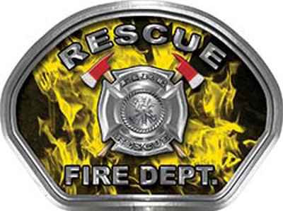 Rescue Fire Fighter, EMS, Rescue Helmet Face Decal Reflective in Inferno Yellow