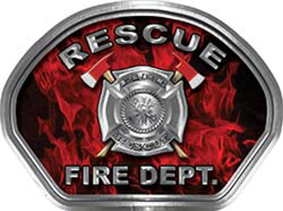 Rescue Fire Fighter, EMS, Rescue Helmet Face Decal Reflective in Inferno Red