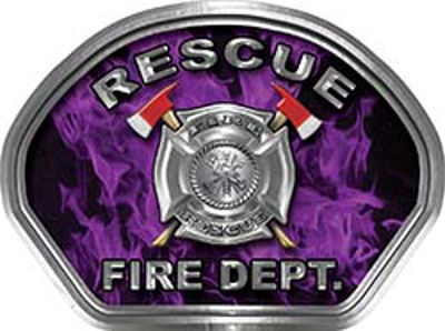 Rescue Fire Fighter, EMS, Rescue Helmet Face Decal Reflective in Inferno Purple
