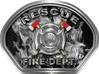 Rescue Fire Fighter, EMS, Rescue Helmet Face Decal Reflective in Inferno Gray