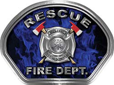Rescue Fire Fighter, EMS, Rescue Helmet Face Decal Reflective in Inferno Blue