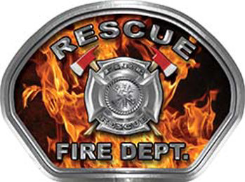 Rescue Fire Fighter, EMS, Rescue Helmet Face Decal Reflective in Inferno Real Flames