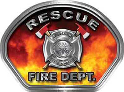 Rescue Fire Fighter, EMS, Rescue Helmet Face Decal Reflective in Real Fire