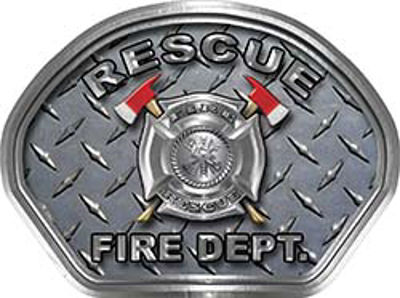 Rescue Fire Fighter, EMS, Rescue Helmet Face Decal Reflective With Diamond Plate