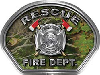 Rescue Fire Fighter, EMS, Rescue Helmet Face Decal Reflective in Real Camo