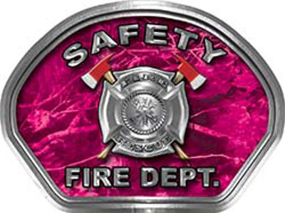Safety Fire Fighter, EMS, Safety Helmet Face Decal Reflective in Pink Camo