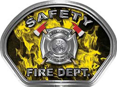 Safety Fire Fighter, EMS, Safety Helmet Face Decal Reflective in Inferno Yellow