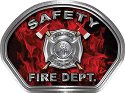 Safety Fire Fighter, EMS, Safety Helmet Face Decal Reflective in Inferno Red