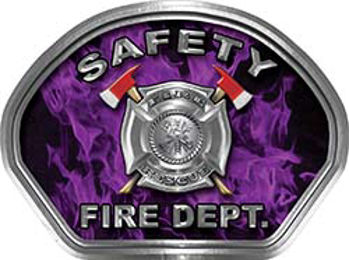 Safety Fire Fighter, EMS, Safety Helmet Face Decal Reflective in Inferno Purple