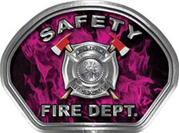 Safety Fire Fighter, EMS, Safety Helmet Face Decal Reflective in Inferno Pink