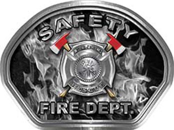 Safety Fire Fighter, EMS, Safety Helmet Face Decal Reflective in Inferno Gray