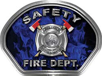 Safety Fire Fighter, EMS, Safety Helmet Face Decal Reflective in Inferno Blue