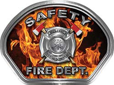 Safety Fire Fighter, EMS, Safety Helmet Face Decal Reflective in Inferno Real Flames