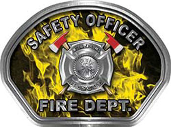 Safety Officer Fire Fighter, EMS, Rescue Helmet Face Decal Reflective in Inferno Yellow