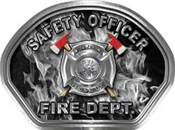 Safety Officer Fire Fighter, EMS, Rescue Helmet Face Decal Reflective in Inferno Gray