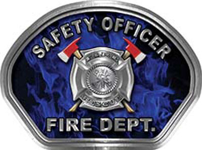 Safety Officer Fire Fighter, EMS, Rescue Helmet Face Decal Reflective in Inferno Blue
