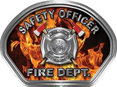Safety Officer Fire Fighter, EMS, Rescue Helmet Face Decal Reflective in Inferno Real Flames