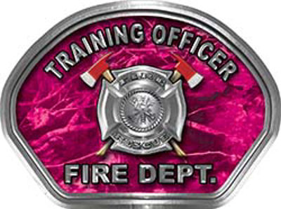 Training Officer Fire Fighter, EMS, Rescue Helmet Face Decal Reflective in Pink Camo