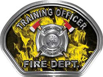 Training Officer Fire Fighter, EMS, Rescue Helmet Face Decal Reflective in Inferno Yellow