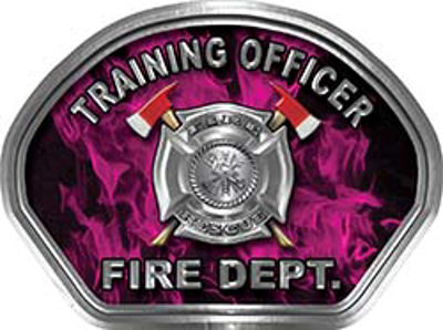 Training Officer Fire Fighter, EMS, Rescue Helmet Face Decal Reflective in Inferno Pink