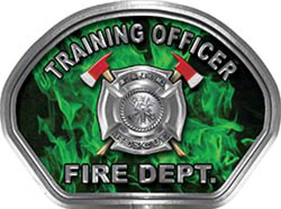 Training Officer Fire Fighter, EMS, Rescue Helmet Face Decal Reflective in Inferno Green