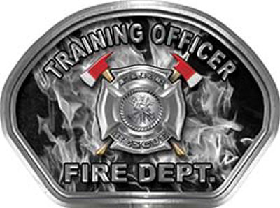 Training Officer Fire Fighter, EMS, Rescue Helmet Face Decal Reflective in Inferno Gray