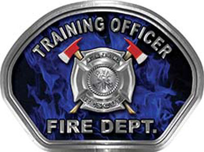 Training Officer Fire Fighter, EMS, Rescue Helmet Face Decal Reflective in Inferno Blue