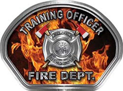 Training Officer Fire Fighter, EMS, Rescue Helmet Face Decal Reflective in Inferno Real Flames