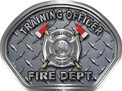 Training Officer Fire Fighter, EMS, Rescue Helmet Face Decal Reflective With Diamond Plate