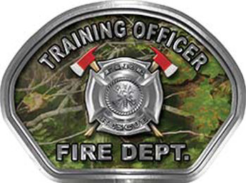 Training Officer Fire Fighter, EMS, Rescue Helmet Face Decal Reflective in Real Camo