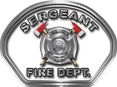 Sergeant Fire Fighter, EMS, Rescue Helmet Face Decal Reflective in White