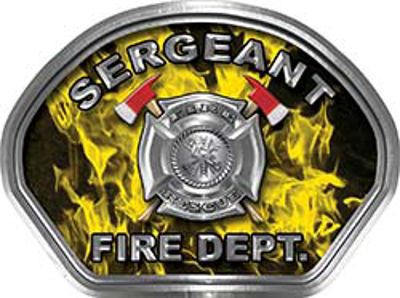 Sergeant Fire Fighter, EMS, Rescue Helmet Face Decal Reflective in Inferno Yellow