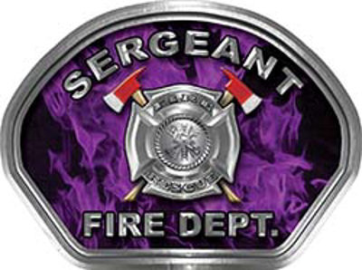 Sergeant Fire Fighter, EMS, Rescue Helmet Face Decal Reflective in Inferno Purple