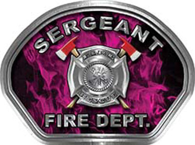 Sergeant Fire Fighter, EMS, Rescue Helmet Face Decal Reflective in Inferno Pink
