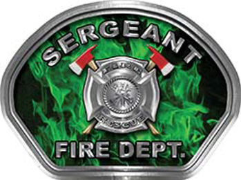 Sergeant Fire Fighter, EMS, Rescue Helmet Face Decal Reflective in Inferno Green
