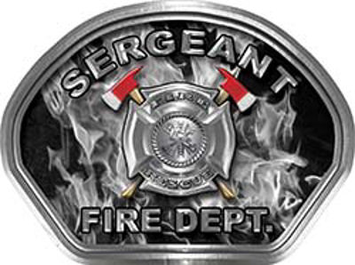 Sergeant Fire Fighter, EMS, Rescue Helmet Face Decal Reflective in Inferno Gray