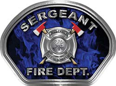 Sergeant Fire Fighter, EMS, Rescue Helmet Face Decal Reflective in Inferno Blue