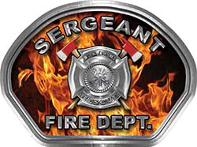 Sergeant Fire Fighter, EMS, Rescue Helmet Face Decal Reflective in Inferno Real Flames