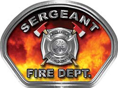 Sergeant Fire Fighter, EMS, Rescue Helmet Face Decal Reflective in Real Fire