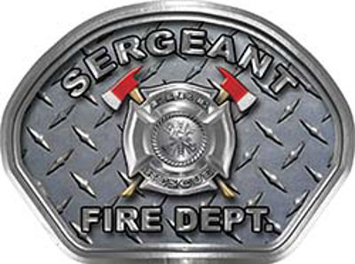 Sergeant Fire Fighter, EMS, Rescue Helmet Face Decal Reflective With Diamond Plate