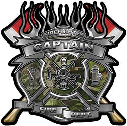 Fire Fighter Captain Maltese Cross Flaming Axe Decal Reflective in Camo