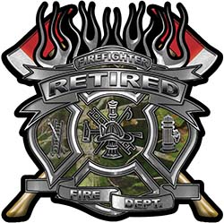 Fire Fighter Retired Maltese Cross Flaming Axe Decal Reflective in Camo