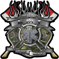 Fire Fighter emt Maltese Cross Flaming Axe Decal Reflective in Camo
