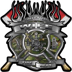 Fire Fighter Wife Maltese Cross Flaming Axe Decal Reflective in Camo