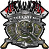 Fire Fighter Girlfriend Maltese Cross Flaming Axe Decal Reflective in Camo