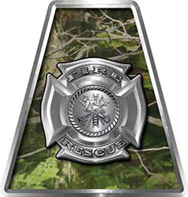 Fire Fighter, EMS, Rescue Helmet Tetrahedron Decal Reflective in Camo with Maltese Cross