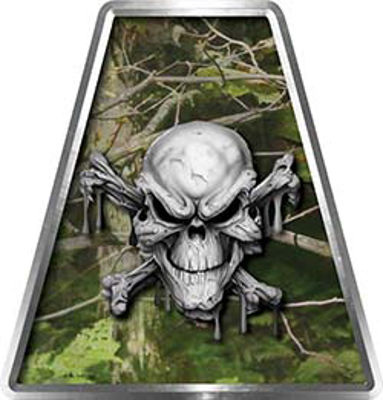 Fire Fighter, EMS, Rescue Helmet Tetrahedron Decal Reflective in Camo Skull