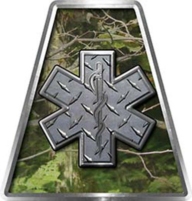 Fire Fighter, EMS, Rescue Helmet Tetrahedron Decal Reflective in Camo Star of Life