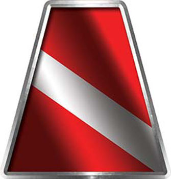 Fire Fighter, EMS, Rescue Helmet Tetrahedron Decal Reflective with Dive Flag
