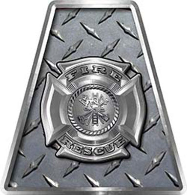 Fire Fighter, EMS, Rescue Helmet Tetrahedron Decal Reflective in Diamond Plate with Maltese Cross